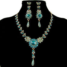 Shiny Bridal Evening Jewellery Set Drop Earrings and Necklace Fashion Jewellery