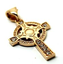 KAEDESIGNS, 9ct Yellow or Rose or White Gold CELTIC CROSS PENDANT WITH STONES