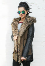 Coco Faux Leather Sleeve & Panel Combination Parka with Fur Hood in Khaki Green