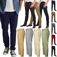 MENS SKINNY PANTS CHINO JEANS STRAIGHT LEG TROUSERS REGULAR FIT CASUAL BOTTOMS
