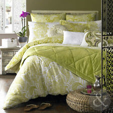 100% Cotton Elizabeth Hurley Persian Duvet Cover with Floral Paisley Lime Green