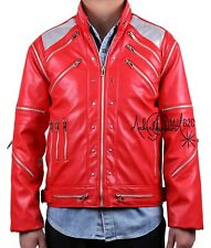 Michael Jackson Costume - Beat It Jacket - Metal Zipper Leather Clothing - Red
