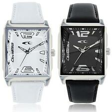Mens Watch CHRONOTECH UPTOWN Steel Leather White Black Classic NEW
