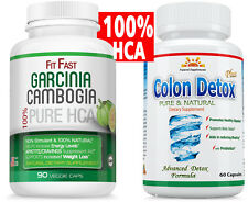 POTENT GARCINIA CAMBOGIA 85%HCA+COLON DETOX/Healthy CLEANSE for WEIGHT LOSS