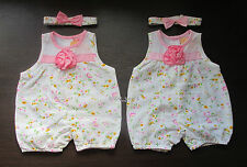 BABY GIRLS SUMMER ROMPER AND BOW HEADBAND SET PINK FLORAL FLOWER HOLIDAY OUTFIT