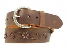 Nocona Western Womens Belt Leather Floral Scroll Embroidered Brown N3417802