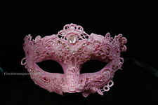 Lace Masquerade Venetian Brocade Crystals Midnight Costume Party half face Mask