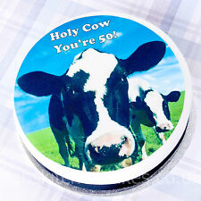 Happy 50th Birthday Cow  Cake Topper - Edible Icing or Wafer Cake Topper - 7.5""