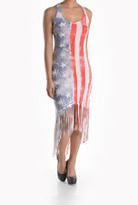 T-PARTY Red, White & Blue Vintage American Flag Fringe Sexy Maxi Dress Western