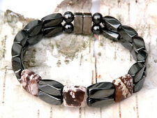 Men's Magnetic Hematite Cappuccino 3 stone Bracelet Anklet FREE SHIPPING