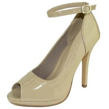 Womens Peep Toe Stiletto Pumps Ankle Strap Patent High Heel Dress Shoes Taupe