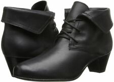 Women's David Tate Angelica Lace-Up Ankle Boots Black Calf Leather Extra-Wide