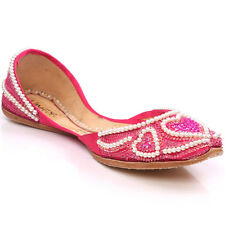 UNZE AZAL' WOMENS LEATHER TRADITIONAL INDIAN KHUSSA PUMPS SIZE UK 3 - 8 PINK
