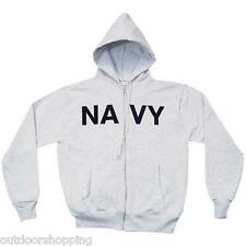 Heather Grey US NAVY IMPRINTED ZIP-UP HOODED SWEATER - Winter Warm, USN