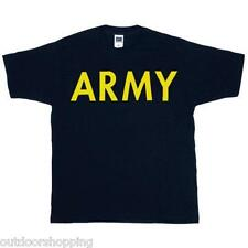 BLACK/GOLD LETTERING ARMY IMPRINTED 1 SIDED T-SHIRT - Short Sleeve Tee, US