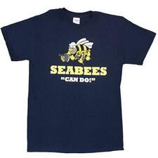 Navy Blue Seabees Can Do One Sided Imprinted T-Shirt  - Made Of Cotton Material