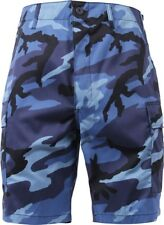 Mens Sky Blue Camouflage Military BDU Cargo Shorts