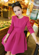 Fashion Womens Winer Spring Elegant Korean Style Slim Fuchsia Ball Gown Dress