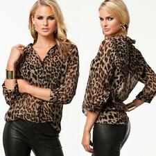 New Womens Casual Loose Chiffon Sexy Leopard Print Shirt Tops Blouse T-Shirt
