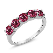 1.20 Ct Round Pink Tourmaline 18K White Gold 5-Stone Band Ring