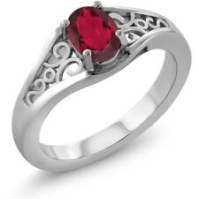 0.95 Ct Oval Red Mystic Topaz 18K White Gold Ring