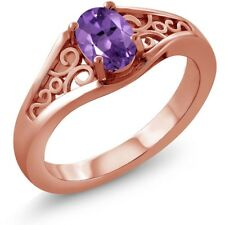 0.75 Ct Oval Purple Amethyst 925 Rose Gold Plated Silver Ring