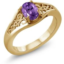 0.75 Ct Oval Purple Amethyst 14K Yellow Gold Ring