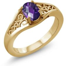 0.75 Ct Oval Checkerboard Purple Amethyst 18K Yellow Gold Ring