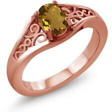 0.70 Ct Oval Whiskey Quartz 925 Rose Gold Plated Silver Ring