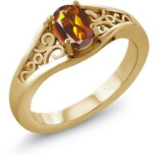 0.70 Ct Oval Orange Red Madeira Citrine 14K Yellow Gold Ring