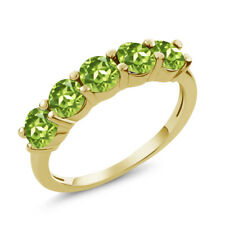 1.50 Ct Round Green Peridot 925 Yellow Gold Plated Silver 5-Stone Band Ring