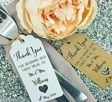 "First Meal Wedding Favour Gift Tag ""Thank you"" Label Kraft/ Napkin Ring"