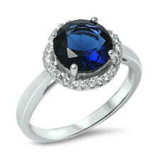 .925 STERLING SILVER12MM SPARKLING ROUND DESIGN BLUE SAPPHIRE CZ ENGAGEMENT RING