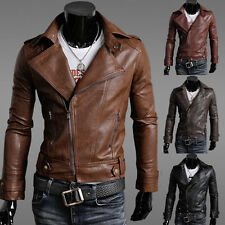 Men's Slim Fit Zipper Coats Motorcycle Faux Leather Short Jacket Outdoor Outwear