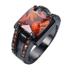 Sz6-12 Excellent Red Ruby Men/Women's Black Gold Filled Engagement Ring Gift