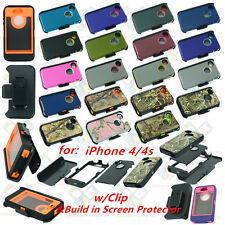 Heavy Duty Dirt/Shockproof defender Case Cover with Belt Clip for iPhone 4/4S