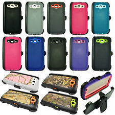 Heavy Duty Defender Dirt/Shockproof Case Cover +Belt Clip for Samsung Galaxy S3