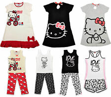 Hello Kitty Girls Kids Cotton Nightie Pyjamas Short PJS Set Age 2 - 14 Years NEW