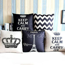Retro Vintage Home Decorative Cotton Linen Throw Pillow Case Cushion Cover Crown