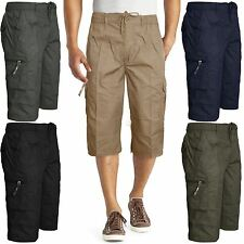 NEW MENS PLAIN 3/4 SUMMER SHORTS ELASTICATED WAIST CARGO COMBAT LONG 3/4 PANTS