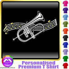 Flugelhorn Curved Stave - Personalised Music T Shirt 5yrs - 6XL by MusicaliTee