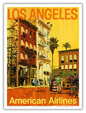 Los Angeles Hollywood California Vintage Airline Travel Art Poster Print