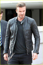 David Beckham Biker Style Faux / Synthetic Leather Jacket