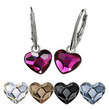 925 Sterling Silver Leverback Dangle Earrings HEARTS Crystals from Swarovski®