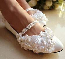 White pearl anklet silk rose lace Wedding shoes flat ballet Bridal US size 9-10
