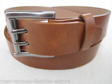New Men's 2-Double Holes Casual TAN Leather Belt 2-Prong Roller Removable Buckle