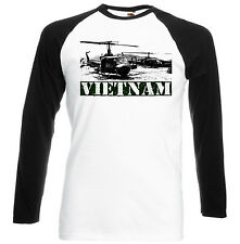 USA VIETNAM WAR HELICOPTERS - BLACK SLEEVED BASEBALL TSHIRT S-M-L-XL-XXL