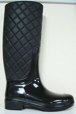 Women Quilted Knee High Rubber Wellies Galoshes Pull Up Rain Boots Black
