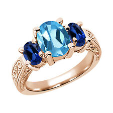 3.56 Ct Swiss Blue Topaz Blue Simulated Sapphire  RG Plated Silver  Ring