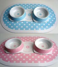 CAT KITTEN PUPPY SMALL DOG TWO FOOD BOWLS AND FEEDING MAT SETS ANCOL